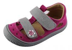 Filii barefoot sandálky KAIMAN velcro velours pink/grey M