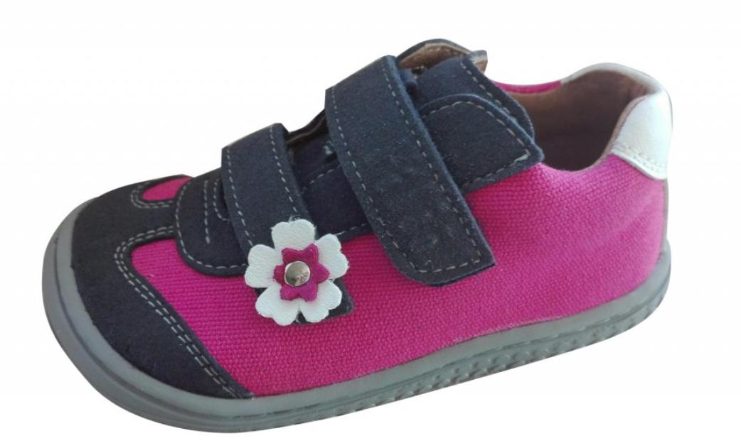 Barefoot Filii leguan velcro velours/textile ocean/pink W bosá