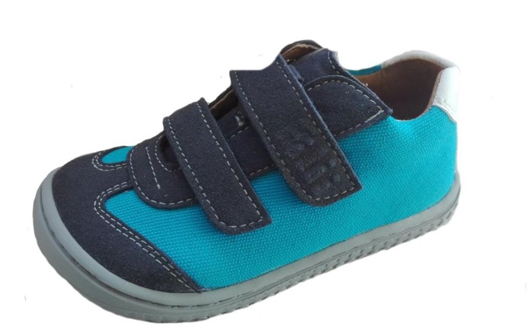 Barefoot Filii leguan velcro velours/textile ocean/turquis W bosá