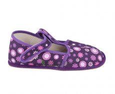 Barefoot Beda barefoot - užší bačkorky suchý zip -fialové kvítko bosá
