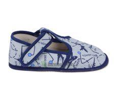 Beda barefoot - užší bačkorky suchý zip -šedé s letadly