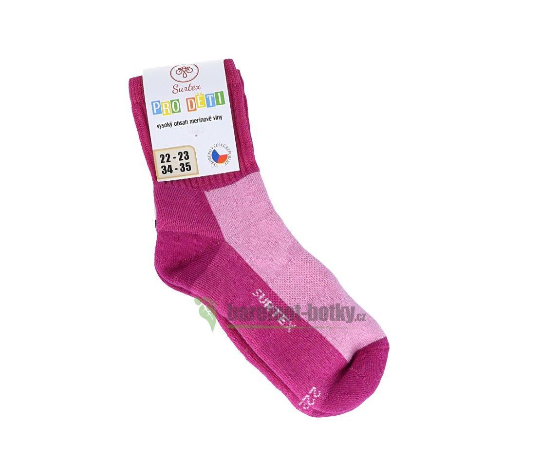 Barefoot Dětské Surtex merino sportovní ponožky froté - růžové bosá