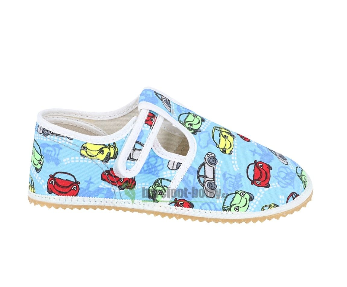 Barefoot Jonap papučky modré s auty bosá
