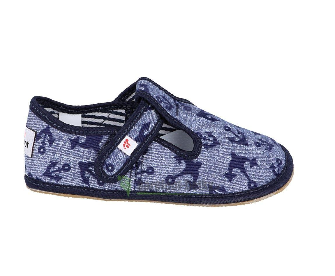 Barefoot Ef barefoot papučky džínové s kotvičkou bosá