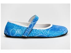 Barefoot Ahinsa shoes Balerínka Ananda Zentangle (modrá) bosá