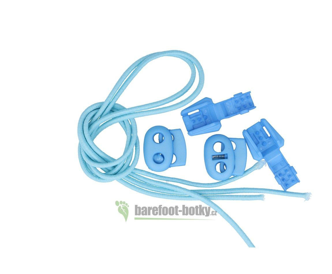 Barefoot Elastičké tkaničky Easy tie světle modré bosá