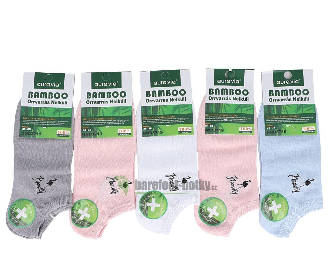 Barefoot Bambusové ponožky kotníkové AURA VIA - dámské bosá