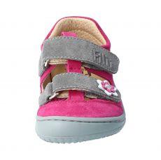 Barefoot Filii barefoot sandálky KAIMAN velours leather pink velcro M bosá