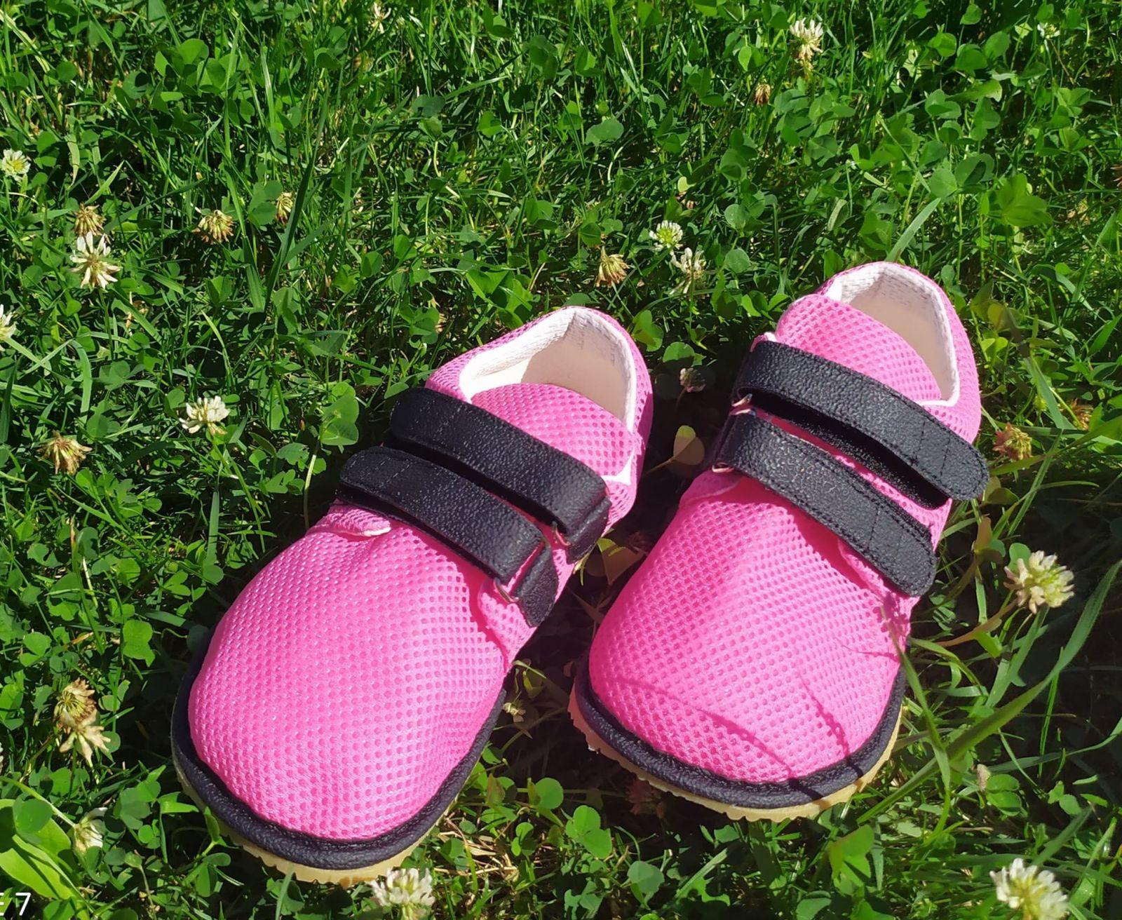 Barefoot Beda barefoot tenisky se suchým zipem - růžové se světlou podrážkou bosá