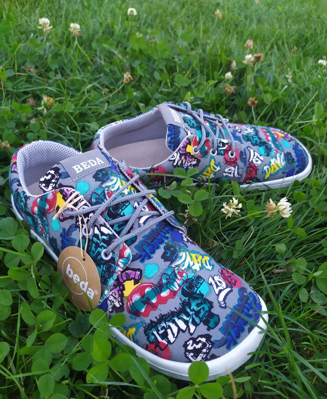 Barefoot Beda barefoot textilní tenisky grafitti - tkaničky bosá