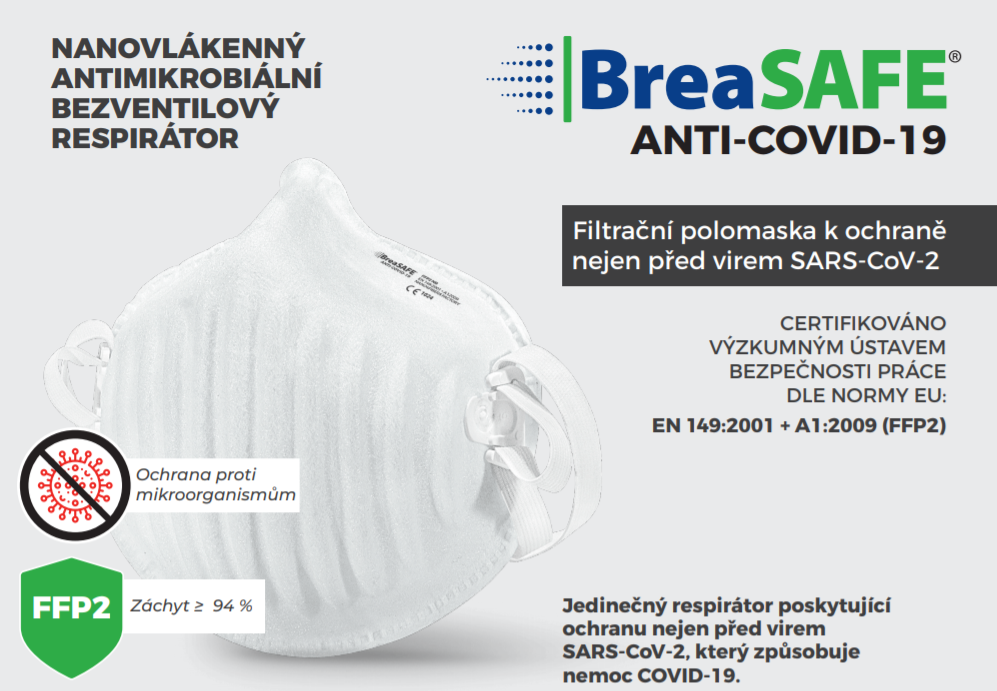 Barefoot Nano respirátor BreaSAFE® ANTI-COVID-19 3 ks Pardam bosá