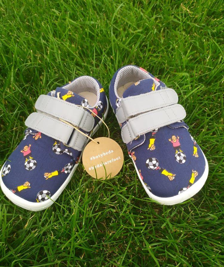 Barefoot Beda barefoot textilní tenisky modrý fotbal bosá