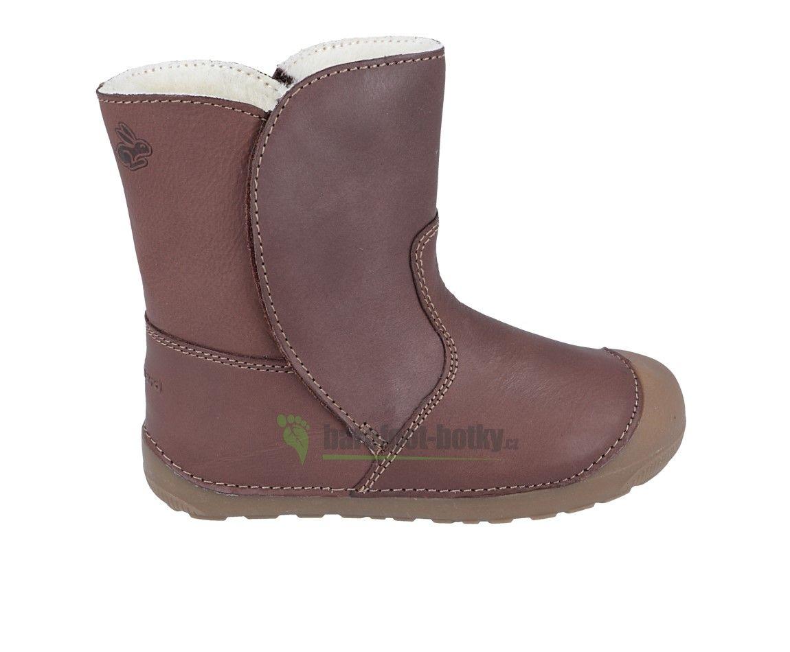 Barefoot Bundgaard Petit Winter Booty Mink Brown - zimní barefoot botičky bosá