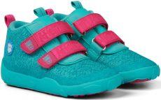 Barefoot Dětské barefoot botičky Affenzahn Minimal Lowboot Knit Owl - Green/Pink bosá