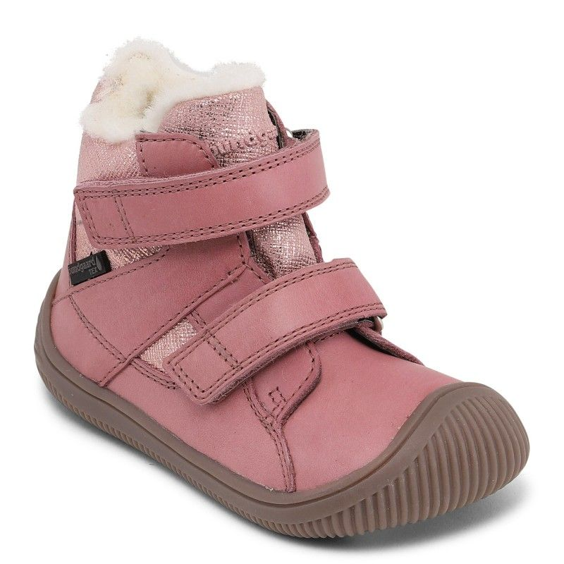 Barefoot Zimní boty Bundgaard Walk Velcro Tex Nostalgia Rose bosá