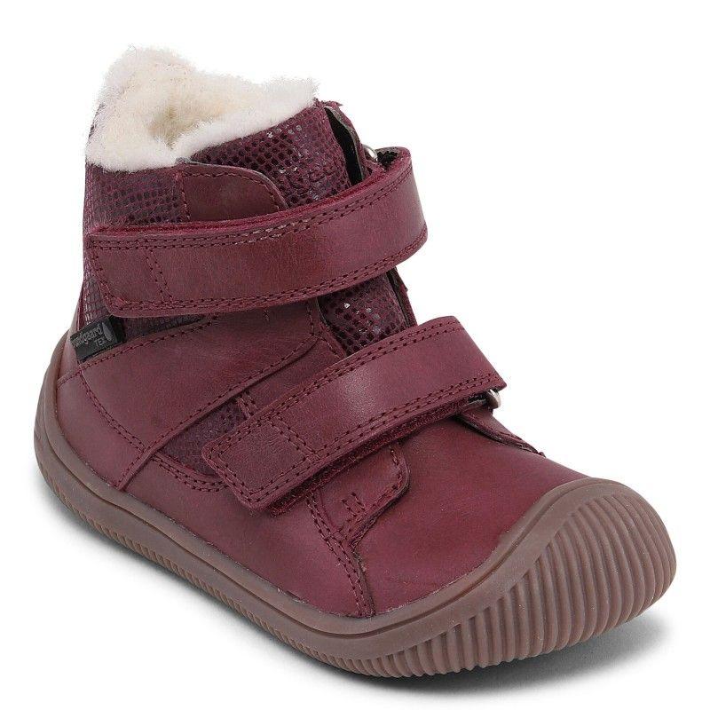 Barefoot Zimní boty Bundgaard Walk Velcro Tex Plum bosá