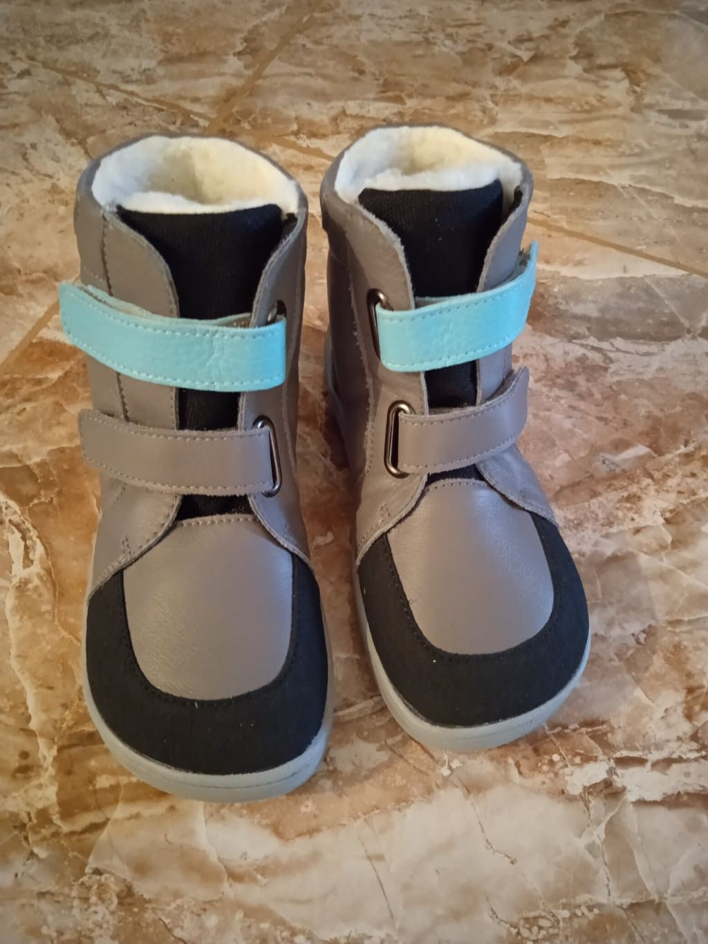 Barefoot BABY BARE WINTER GREY TYRKYS OKOP ASFALTICO BABY BARE SHOES bosá