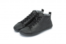 Barefoot Barefoot boty MUKISHOES High-cut RAW LAETHER Black FW bosá