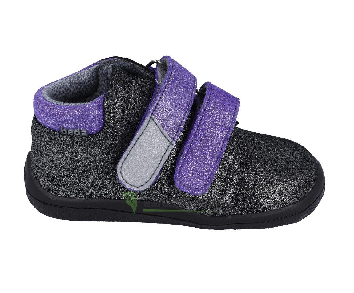 Barefoot Beda Barefoot Dark violette - celoroční boty s membránou bosá