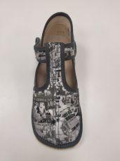 Barefoot Beda barefoot - užší bačkorky suchý zip - šedé nápisy bosá