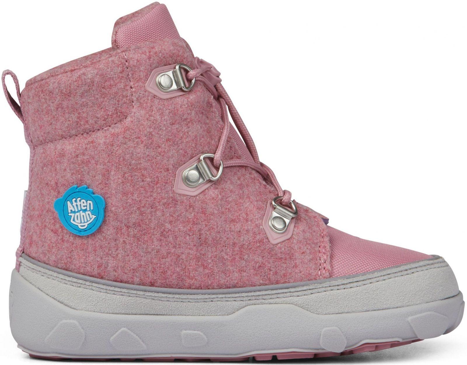 Barefoot Dětské barefoot botičky Affenzahn Minimal Midboot Wool Lace Unicorn - Pink bosá