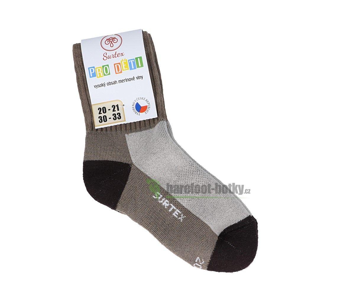 Barefoot Dětské Surtex merino sportovní ponožky froté - béžové bosá