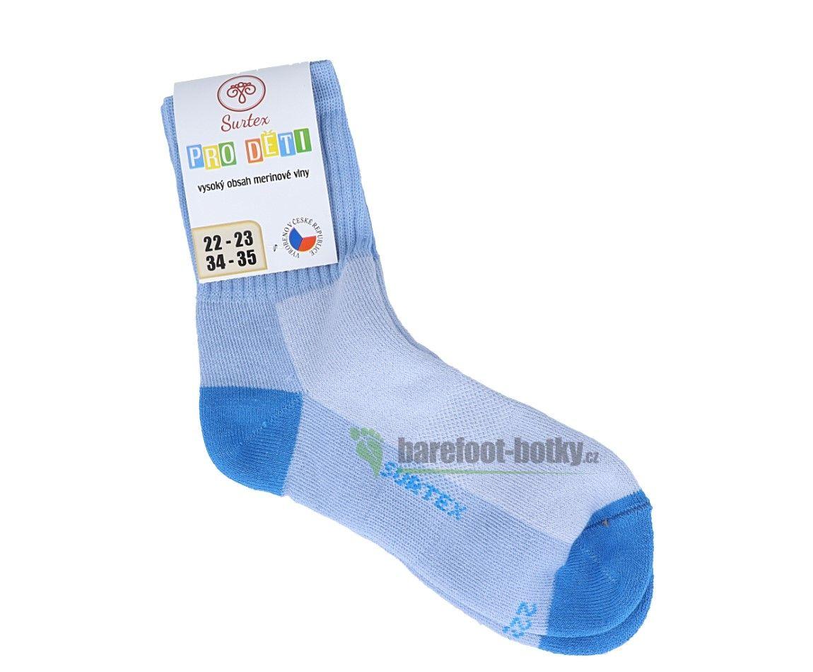 Barefoot Dětské Surtex merino sportovní ponožky froté - světle modré bosá