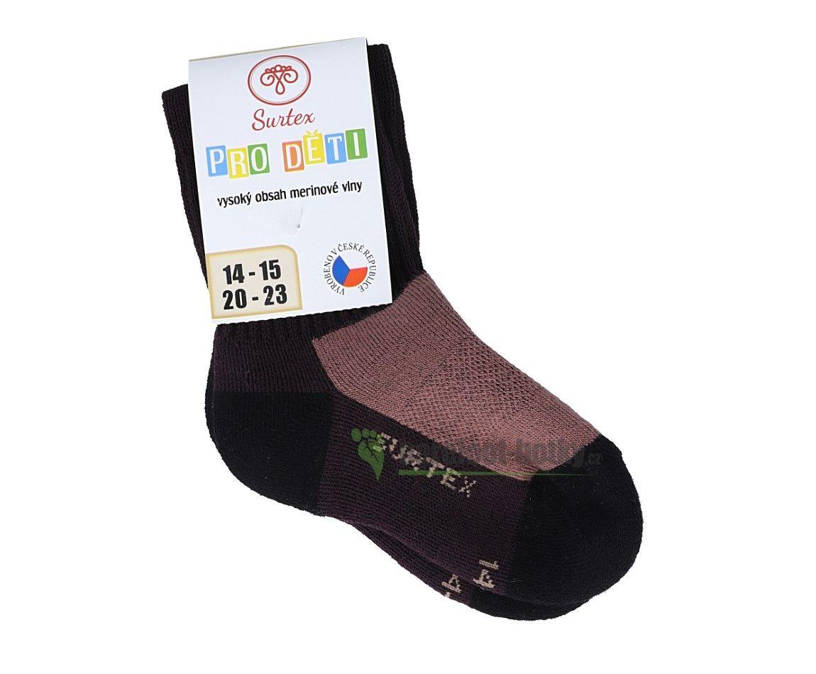 Barefoot Dětské Surtex merino sportovní ponožky froté - tmavě hnědé bosá