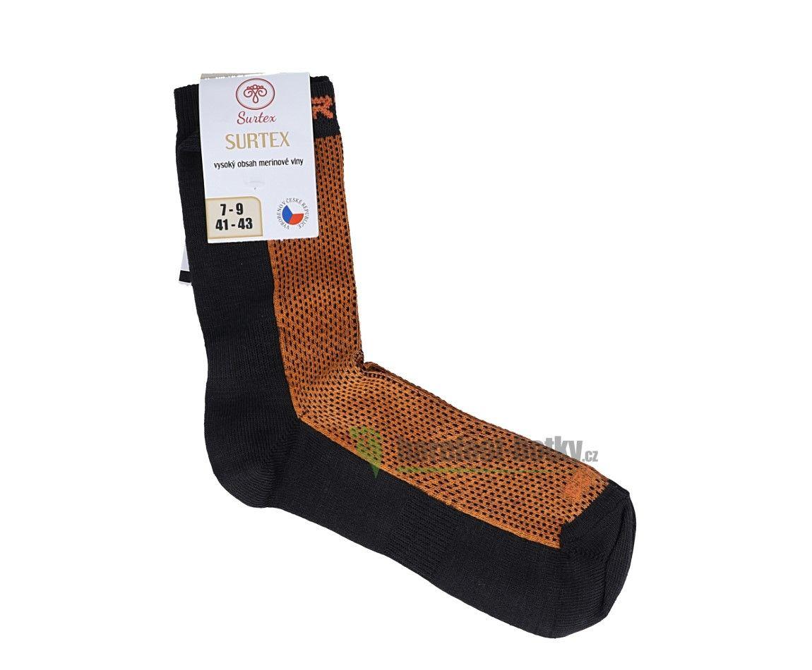 Barefoot Surtex merino ponožky froté - tenké oranžové bosá