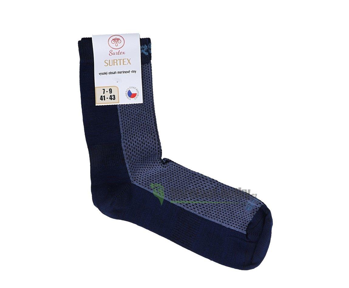 Barefoot Surtex merino ponožky froté - tenké šedo-modré bosá