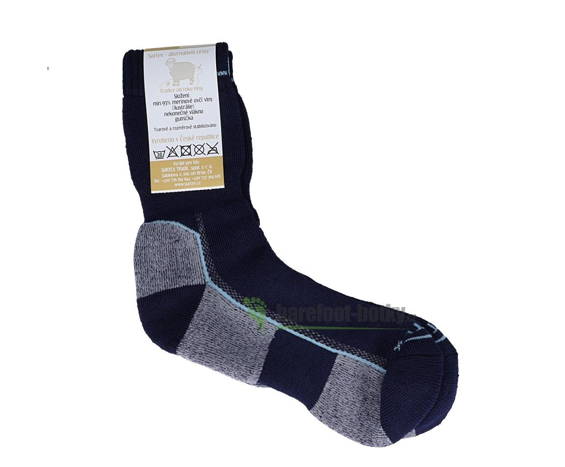 Barefoot Surtex ponožky froté - 95 % merino- černo-šedo-tyrkysové bosá