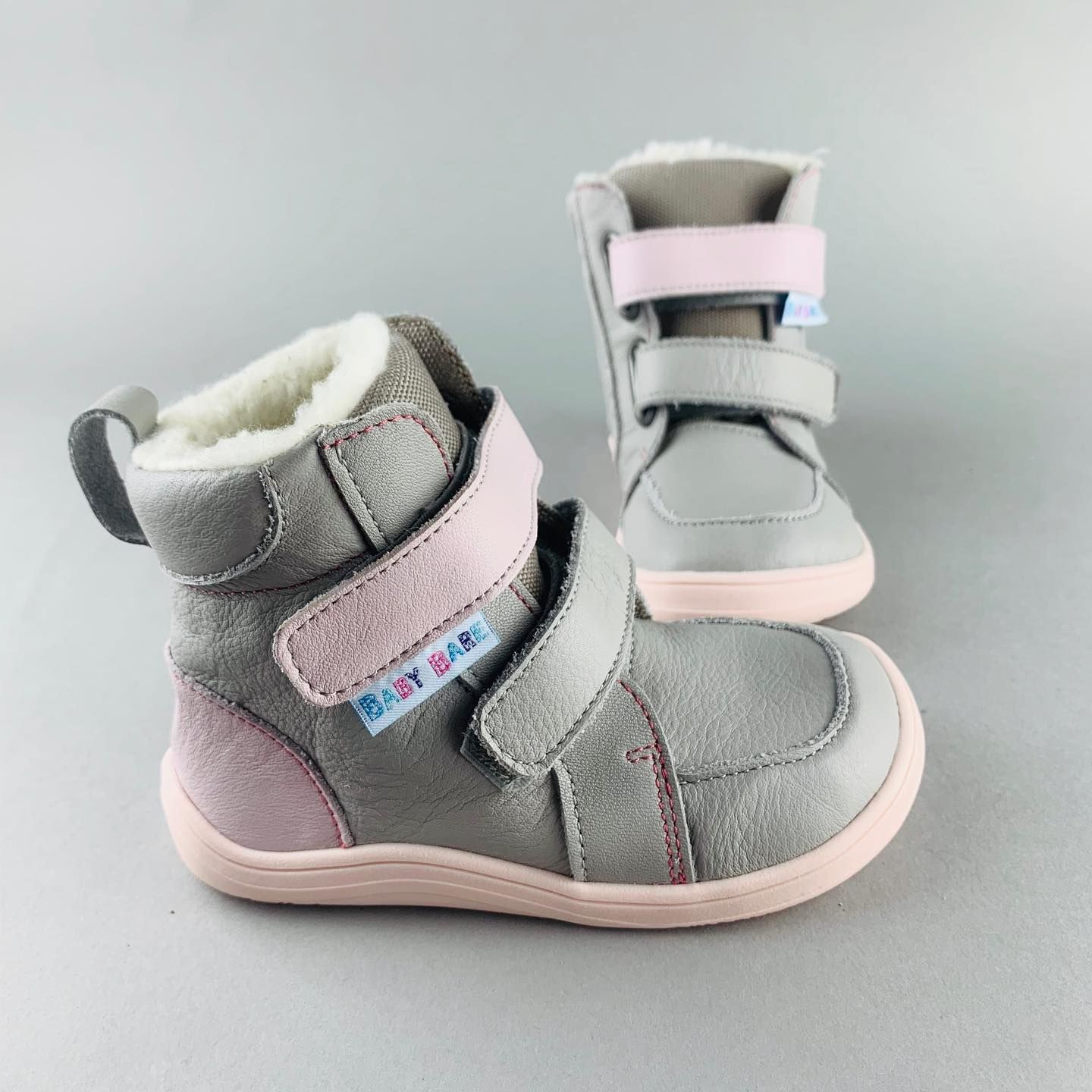 Barefoot BABY BARE WINTER GREY PINK BABY BARE SHOES bosá