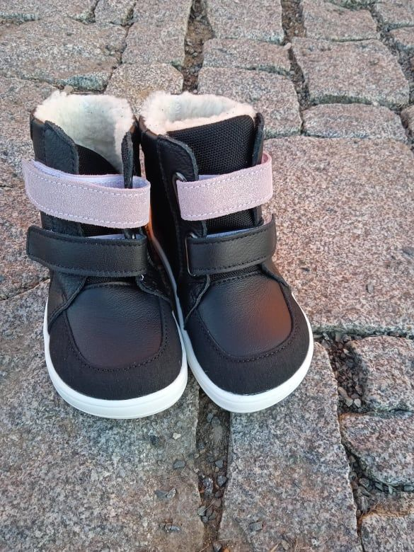 Barefoot BABY BARE WINTER SPARKLE BLACK OKOP ASFALTICO BABY BARE SHOES bosá