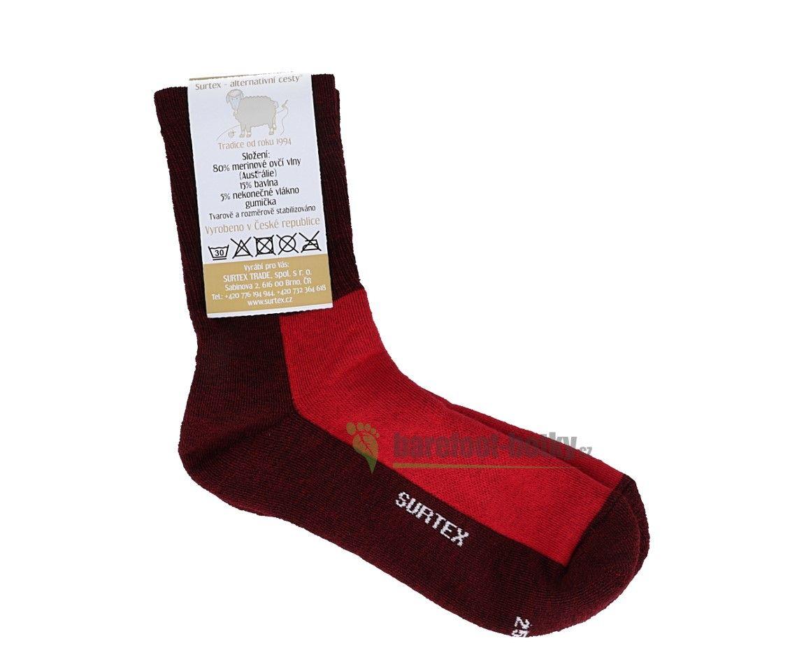 Barefoot Dětské Surtex merino sportovní ponožky froté - červené bosá