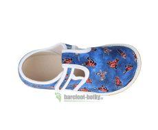 Barefoot Jonap papučky modré s motorkami bosá