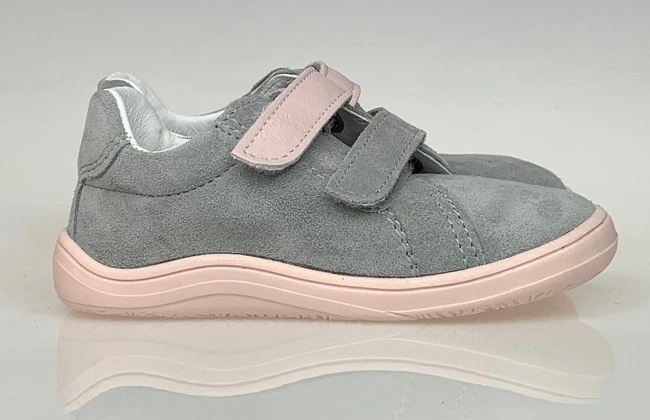 Barefoot Baby bare shoes Febo Spring grey pink bosá