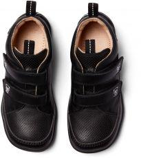Barefoot Dětské barefoot botičky Affenzahn Lowcut Leather Panther-Triple Black bosá