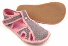 Barefoot Ef barefoot papučky 386 šedo-růžové - otevřené bosá