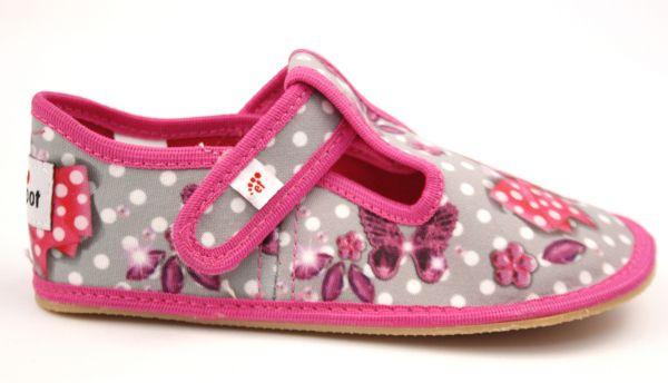 Barefoot Ef barefoot papučky 395 Butterfly grey bosá