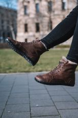 Barefoot Zimní boty ZAQQ QUINTIC Winter Velours Brown bosá