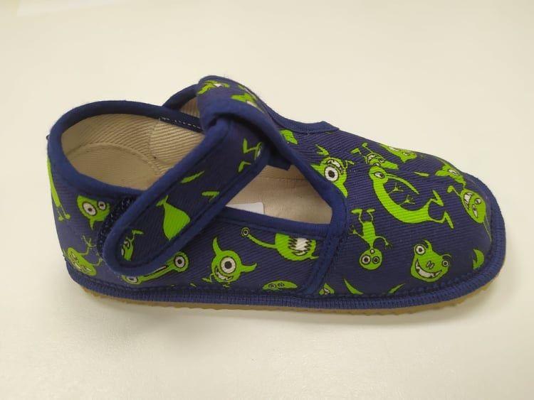 Barefoot Beda barefoot - užší bačkorky suchý zip - příšerky bosá