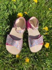 OKBARE barefoot sandálky Mirisa D203  fuchsiová/růžová třpytivá