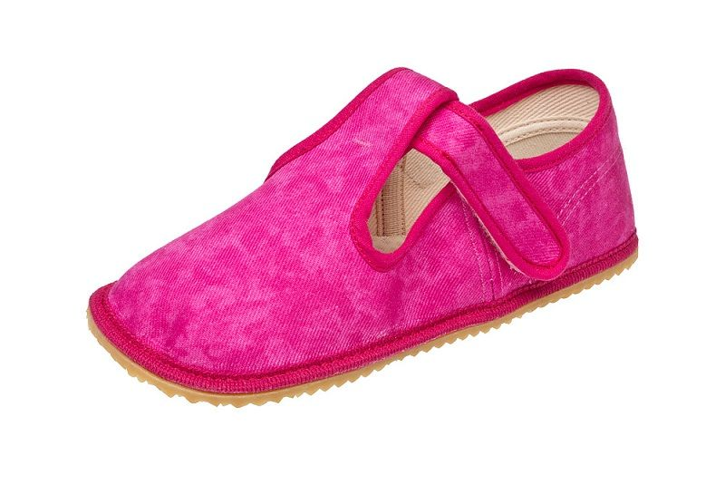 Barefoot Beda barefoot - bačkorky suchý zip - růžová batika s opatkem bosá