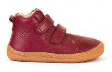 Froddo barefoot zimní kotníkové boty bordeaux s pravým kožíškem | 20, 21, 22, 23, 24, 37, 38, 39, 40