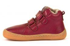 Barefoot Froddo barefoot zimní kotníkové boty bordeaux s pravým kožíškem bosá