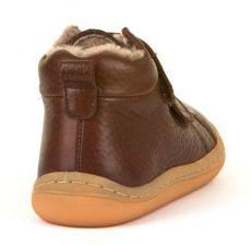Barefoot Froddo barefoot zimní kotníkové boty brown s pravým kožíškem bosá