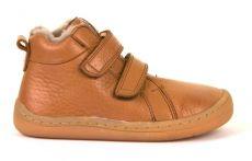 Froddo barefoot zimní kotníkové boty cognac s pravým kožíškem | 21, 22, 23, 24, 25, 26, 27, 28, 29, 37, 38, 39, 40