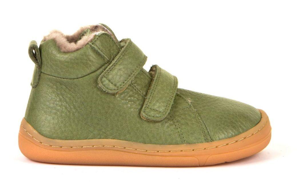 Barefoot Froddo barefoot zimní kotníkové boty olive s pravým kožíškem bosá