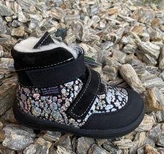 Jonap zimní barefoot boty JERRY černá s leskem SLIM - vlna | 23, 24