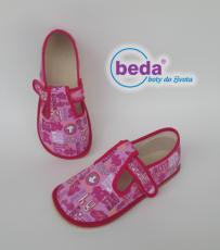 Beda barefoot - bačkorky suchý zip - růžové se znaky